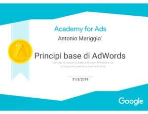 Certificazione Google AdWords 2018-19 | Antonio Mariggiò